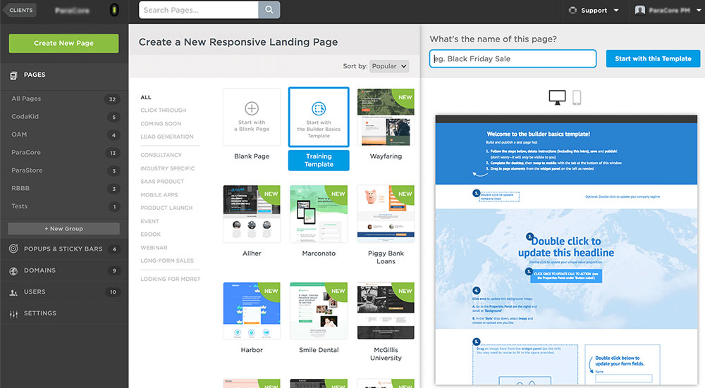 creating unbounce landing page